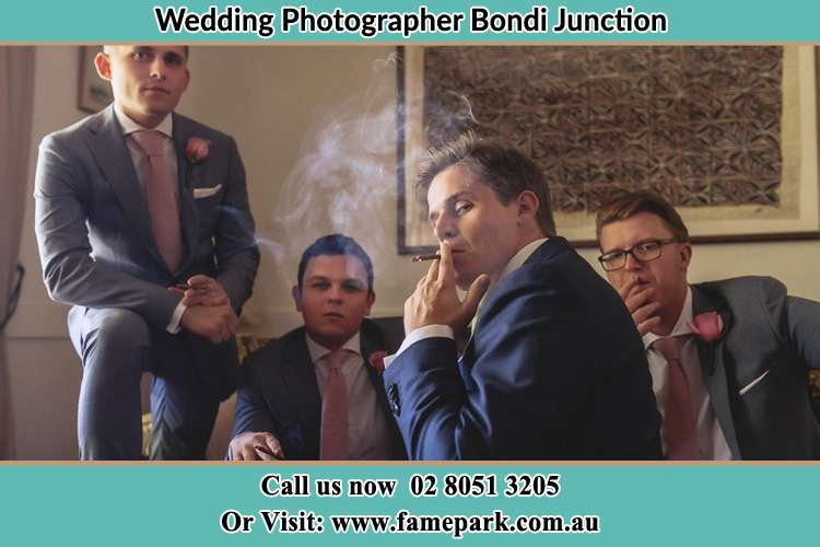 Photo of the Groom and the groomsmen relaxing Bondi Junction NSW 2022
