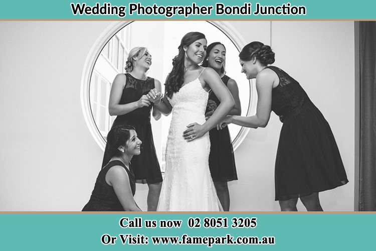 Photo of the Bride and the bridesmaids near the window Bondi Junction NSW 2022