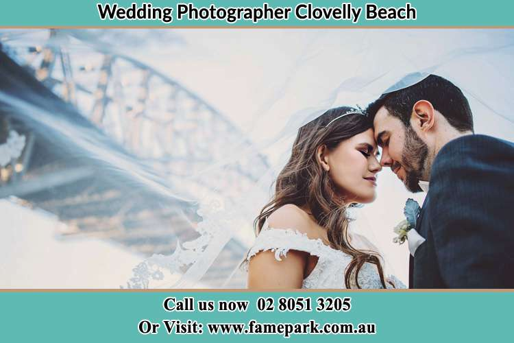 Close up photo of the Bride and the Groom under the bridge Clovelly Beach NSW 2031