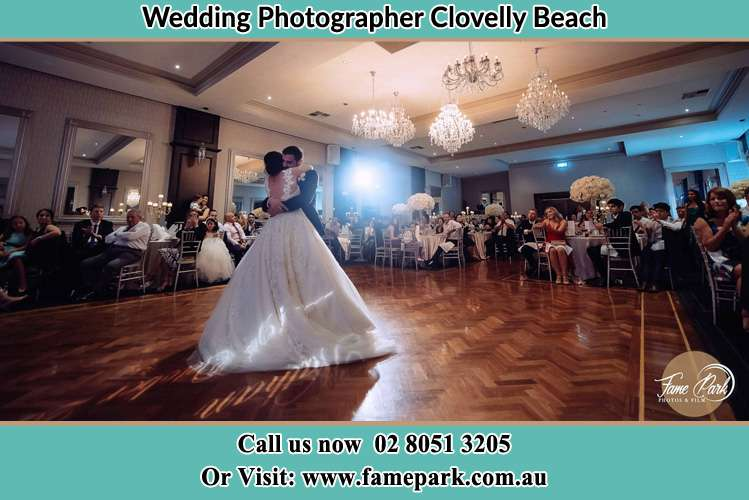 Photo of the Bride and the Groom hugging at the dance floor Clovelly Beach NSW 2031