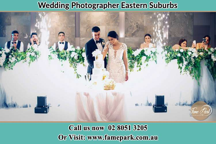 Bride and Groom Cutting the Cake Eastern Suburbs