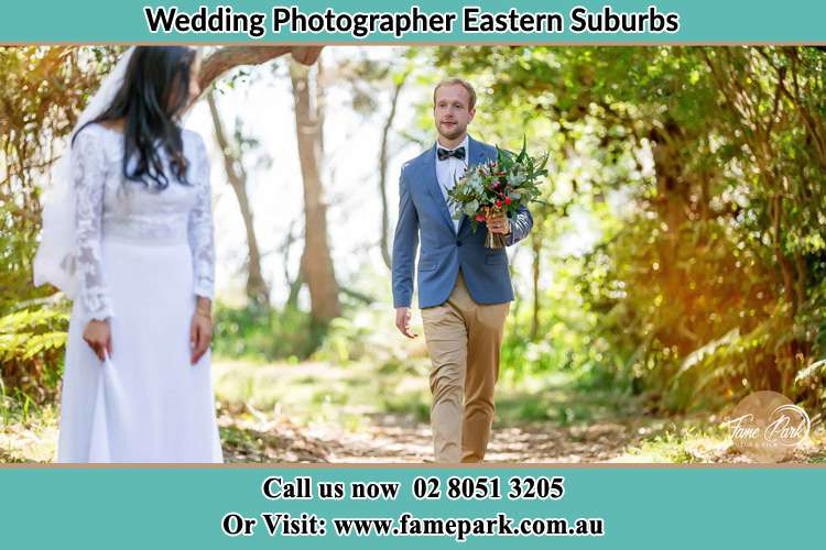 Groom bring flowers to the Bride Eastern Suburbs