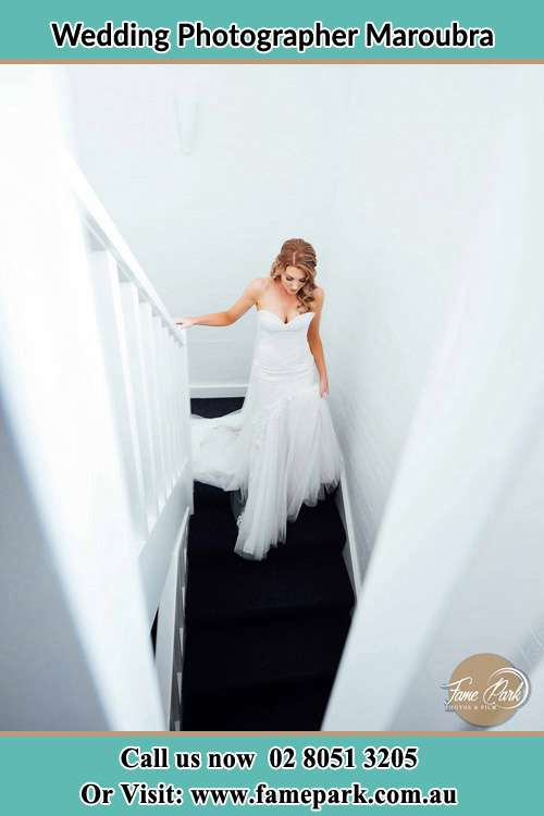 Photo of the Bride going down the stair Maroubra NSW 2035