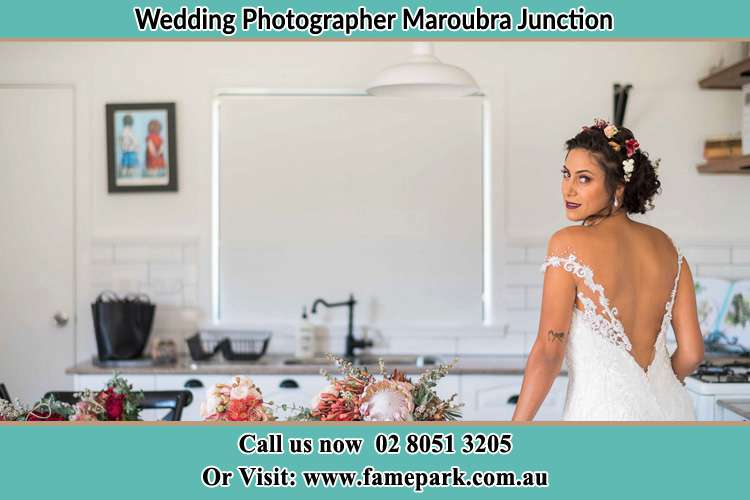 the Bride striking a pose on the camera Maroubra Junction NSW 2035
