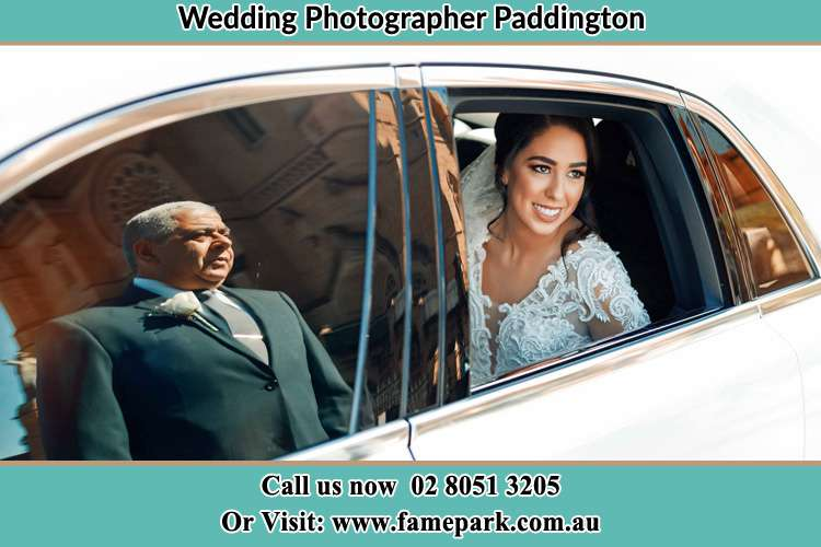Photo of the Bride inside the bridal car and her father standing outside Paddington NSW 2021