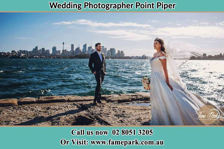 Photo of the Groom and the Bride near the sea front Point Piper NSW 2027
