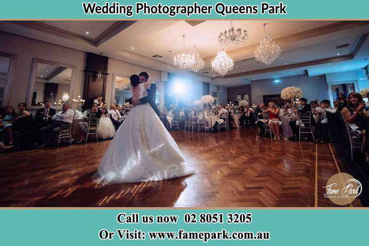 Photo of the Bride and the Groom hugging at the dance floor Queens Park NSW 2022