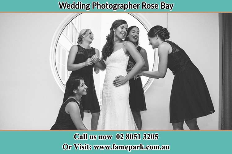 Photo of the Bride and the bridesmaids near the window Rose Bay NSW 2029