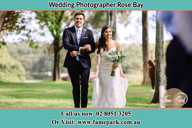 Photo of the Groom and the Bride walking Rose Bay NSW 2029