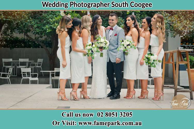 Photo of the Bride and the Groom with the bridesmaids South Coogee NSW 2034