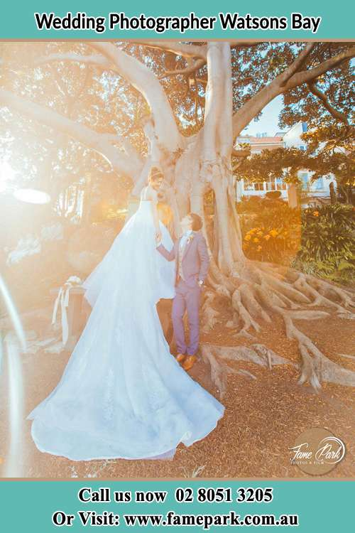 Photo of the Bride and the Groom looking each other besides the tree Watsons Bay NSW 2030